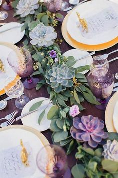 100 + Must Have Gold Color Palette to Wow Your Guests---gold and violet wedding centerpieces with succulents,diy wedding reception decorations, Succulent Wedding Centerpieces, Wedding Reception Centerpieces, Wedding Decorations, Centerpiece Ideas, Succulent Table Decor, Succulant Wedding, Decor Wedding, Wedding Receptions, Table Setting Wedding