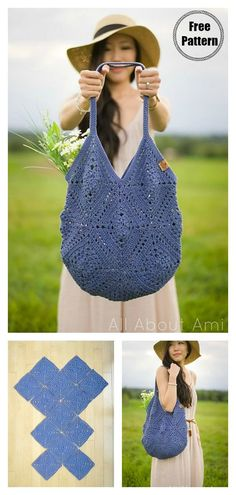 Granny Squares Market Bag Free Crochet Pattern #freecrochetpatterns  #crochetmarketbag  #totebagpattern  #crochetgrannysquare