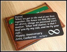 Message Card Wallet Card Wedding Groom Gift Anniversary