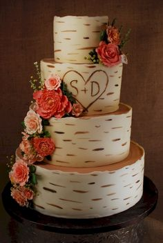 Cup a Dee Cakes Blog: Birch Wood Grain Wedding Cake for Anna