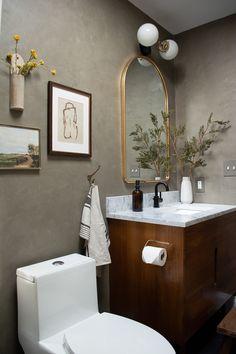 Wood Slat Wall, Wood Slats, Bathroom Renos, Bathroom Interior, Bathroom Plants, Downstairs Bathroom, Washroom, Modern Vintage Bathroom, Modern Vintage Decor