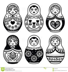 Matryoshka, Russian Doll Icons Set Stock Illustration - Image ...