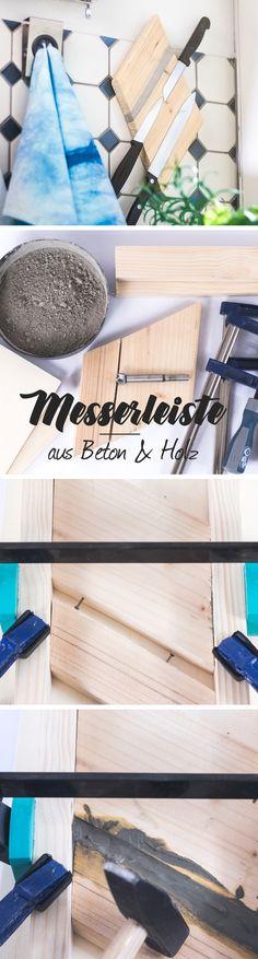 DIY Anleitung - magnetische Messerleiste aus Holz & Beton selber machen