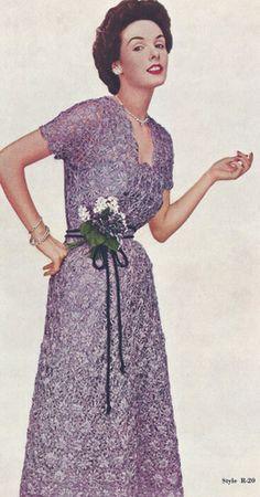 Vintage Crochet PATTERN to make Formal Designer Daisy Knitter Ribbon Dress 1950s PurpleDaisyDress