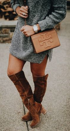 Sweater dress + OTK boots.