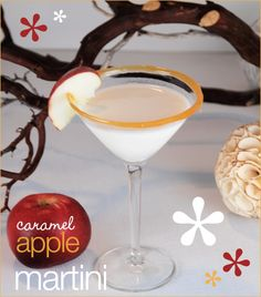 caramel apple martini- 1 oz green apple flavored vodka, 1/2 oz apple schnapps, 1 oz butterscotch schnapps,2 oz half and half.  garnish with caramel sauce and apple slice®