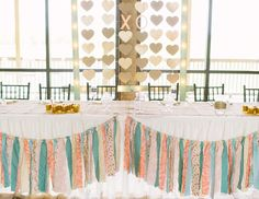DIY head table decorations - love the gold glitter hearts