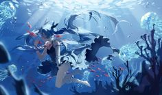 animal barefoot bubbles deep-sea_girl_(vocaloid) dress fish hatsune_miku long_hair spencer_sais twintails underwater vocaloid water