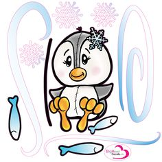 Playful Penguin 6 from Big Heart Decals Inc. Made in Canada. Fabric stickers or wall decals for nursery or kids playrooms. Sticks on walls, windows and flat surfaces.  Movable, removable, no residue.  Price: $25.00 - 18 x 18 inches