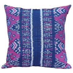 """Purple Moon"" Handwoven Ikat Pillow ($110) ❤ liked on Polyvore featuring home, home decor, throw pillows, moon home decor, purple shams, lumbar pillow insert, purple throw pillows and ikat pillow shams"