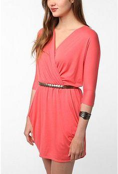 Coral Surplice Dress three quarter sleeve