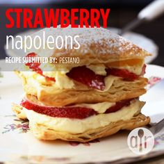 "Strawberry Napoleons - - ""This delicious, attractive, and (most importantly) super-easy puff pastry recipe can easily be made low-fat by using fat-free whipped topping and skim milk. This recipe should be enjoyed the same day for best results. Recipes Using Puff Pastry, Easy Puff Pastry Recipe, Puff Pastry Desserts, Puff Recipe, Köstliche Desserts, Delicious Desserts, Dessert Recipes, Pastries Recipes, Recipes Dinner"