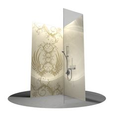 Oversized backside printed glass tiles fpr wellness and spa