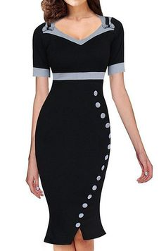 98cc485439c4 Senfloco Womens Vintage Pinup Wiggle Dress Work Business Party Cocktail  Dress CN XL US    Check out the image by visiting the link.