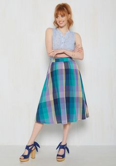Artistic Expression Midi Skirt. With your art sale earnings, you want to purchase a garment you can creatively incorporate into your wardrobe. #blue #modcloth