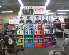 The One Direction stand in office depot. all of my school supplies are One Direction :)