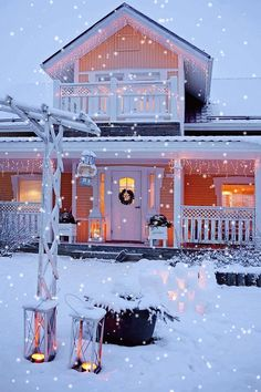 Beautiful Home at Christmas time with Falling Snow . Christmas Hearts, Christmas Scenes, Pink Christmas, Winter Christmas, Christmas Lights, All Things Christmas, Merry Christmas, Cottage Christmas, Country Christmas