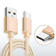 Strong Aluminium Premium Gold Braided Micro USB 3.1 Sync Charger Cable For LG G5