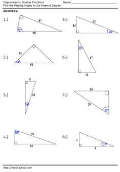 Trigonometry Worksheet: Inverse Function Worksheet - Answers