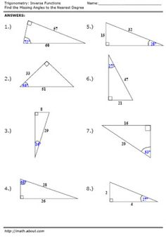 Printables Trig Worksheets trigonometry worksheets soh cah toa triangles the ojays and worksheet inverse function answers