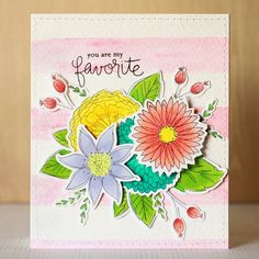 Learn how to make this lovely flower card including a striped watercolor background with a photo tutorial!
