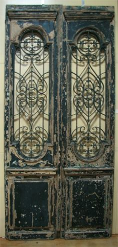 Antiques > Eclectic Architecturals > French doors with decorative iron . Interior Design Degree, Interior Design Games, Double Doors Interior, Interior Shutters, Interior Paint, Antique French Doors, French Antiques, Old Doors, Windows And Doors