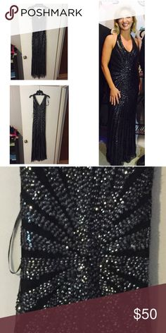 Evening Gown Sequined halter Evening Gown. Very delicate beading, worn once for 4 hours on stage. Very flattering in the way the design swirls to the middle. Nightway Dresses Prom