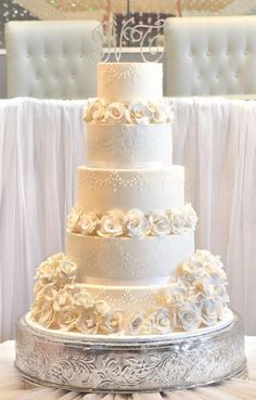 Pin Five Tier Elegant Ivory Wedding Cake With White Roses And Crystal cake picture for pinterest and other social networks. Description from cakechooser.com. I searched for this on bing.com/images