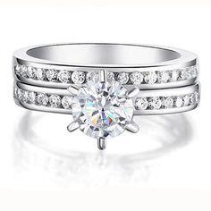2pcs White Gold Princess Cut Cubic Zirconia Women Wedding Matching Ring Set #Unbranded #Wrap #Anniversarywedding