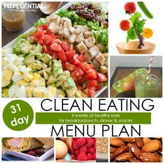 31 day clean eating menu plan - want to eat healthy this year but lack the recipe inspiration? Look no further. Your meal ideas are all here - breakfast, lunch, dinner and snacks.