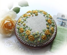 PP13 Yellow Rose of Texas embroidered pincushion kit by lornabateman22 on Etsy, $48.95