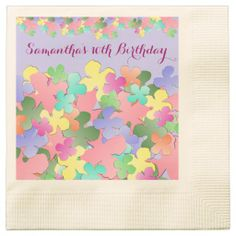 Pastel Flower Collage Custom BIRTHDAY Paper Napkins ~ 5 packs sold of this new design! ~