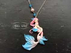 Tiny pink and blue mermaids  Mother and daughter  by AkikosWorld