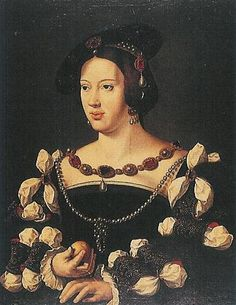 DOÑA LEONOR DE AUSTRIA (1498-1558) - ARCHIDUQUESA DE AUSTRIA Y REINA DE PORTUGAL Y DE FRANCIA. Author: CLEVE, JOOS VAN. Location: BURGMUSEUM, GAASBEEK, BELGIEN. Renaissance Jewelry, Renaissance Artists, Renaissance Fashion, Renaissance Gown, Medieval Times History, Robert Campin, Portuguese Royal Family, 16th Century Clothing, German Costume