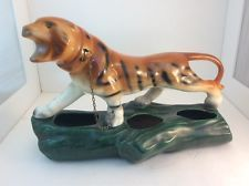 Vintage Tiger Planter with chain Green eyes