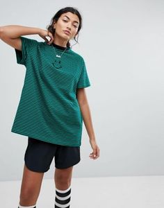 Lazy Oaf Oversized T-Shirt With Face In Stripe