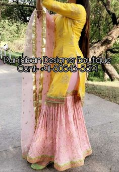 CALL US : + 91 - or Whatsapp Designer Sharara Suit COLOURS Available In All Colours Fine quality fabric Sharara Designs, Sari Blouse Designs, Kurta Designs Women, Kurti Designs Party Wear, Lehenga Designs, Designer Punjabi Suits, Indian Designer Outfits, Indian Outfits, Patiala Salwar Suits