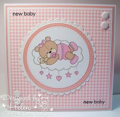 Using 'Baby Girl Sleeping Teddy' from Pink Gem - GDT Card for the Unicorn Challenge