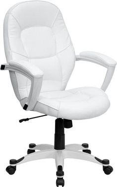 Set your own trend with this ultra-modern White Leather Executive Office Chair by Flash Furniture. Chair has a comfortably padded seat and attractive white nylon base with black caps that prevent feet
