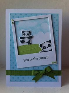 Mama Elephant Pandamonium stamp set and coordinating dies Lawn Fawn Say Cheese die (frame) Lawn Fawn Spring Showers die (clouds) Baby Cards, Kids Cards, Mama Elephant Stamps, Panda Party, Kids Birthday Cards, Stamping Up Cards, Animal Cards, Scrapbook Cards, Scrapbooking