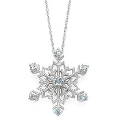 Color-Enhanced Swiss Blue Topaz Snowflake Pendant Necklace ($55) ❤ liked on Polyvore featuring jewelry, necklaces, no color, snowflake necklace, rope chain necklace, snowflake pendant necklace, round pendant necklace and snowflake jewelry