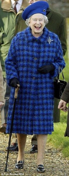 2004: A jolly Queen steps out in a slightly lower heel as she makes her way to church (I love seeing her laugh and smile)