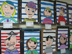 """lesson borrowed from paintedpaper. Could work for self portraits based on book """"Are Pirates Polite?"""" - beginning of year manners lesson Pirate Kids, Pirate Day, Pirate Theme, Pirate Birthday, Pirate Activities, Art Activities, The Pirates, Pirates For Kids, Pirate Names"""