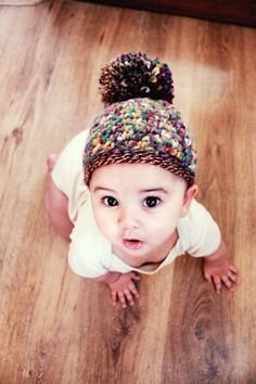 2T to 4T Autumn Brown Hat Pom Pom Fall Hat Crochet by BabaMoon
