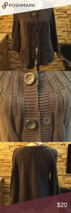 Swing style cardigan Taupe colored mid sleeve cardigan with a bit of a flare Jones New York Sweaters Cardigans