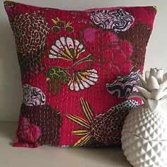 Indian Kantha Dark Pink Cotton Cushion Cover Embroidered Pillow Cases Flowers