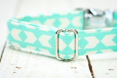 Dog Collar Mint with Off White Arrows Pet Collar by ZaleyDesigns