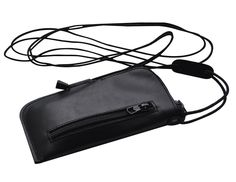 Black Genuine Leather Cover Lined Case Soft Sleeve Pouch Pocket Wallet with Zipper mini messenger bag with shoulder strap fits LG K3 -- Awesome products selected by Anna Churchill