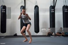 Rose Namajunas holds an open workout for the fans and media at Fortis MMA on May 11, 2017 in Dallas, Texas.