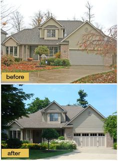 These homeowners trusted their garage door dealer's design recommendation for their home and look at what a difference it made. Talk about adding curb appeal! Door shown: Clopay Coachman Collection steel and composite carriage style garage door, Design 12 with REC 13 windows, Sandtone with Desert Tan overlays. Installed by Plyler Overhead Door. www.clopaydoor.com